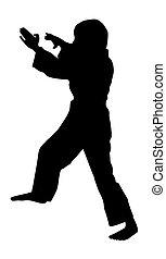 Karate kid stock vector silhouette