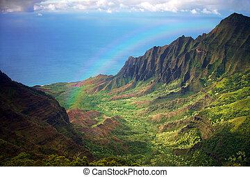 Aerial View of Kauai Coastline in Hawaii With Rainbow