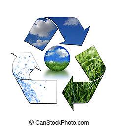 Abstract Recycling Symbol Representing Air, Land and Sea