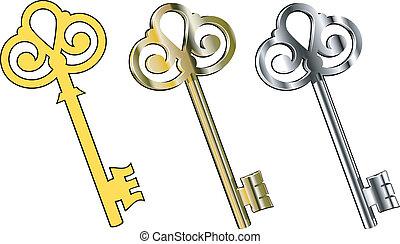Three vector keys : gold, silver and ..... EPS 8, AI, JPEG