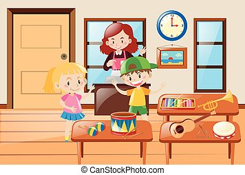 Kids and different kinds of musical instrument