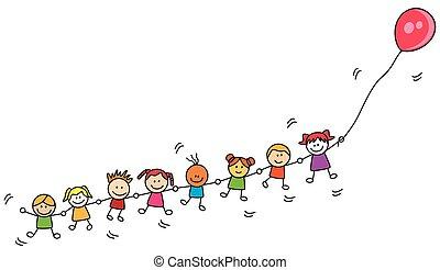 Kids playing balloon