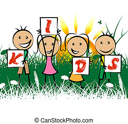 Kids Playing Indicates Free Time And Child