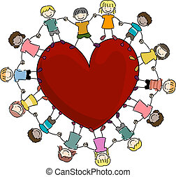 Illustration of Kids Surrounding a Large Heart