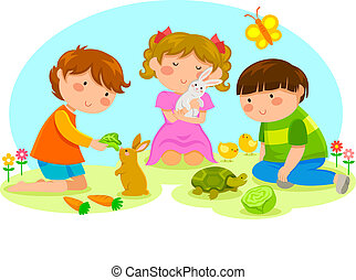 kids playing with cute animals