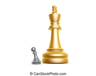big king and small pawn on white background