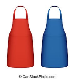 Red and blue kitchen aprons