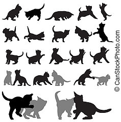 Vector set of kitten silhouettes.