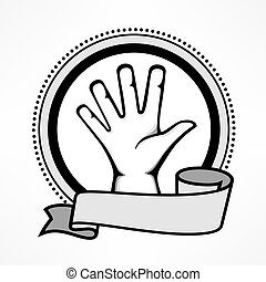 Label with gestures human hand