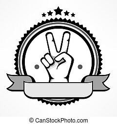 Label with victory gestures human hand isolated on white