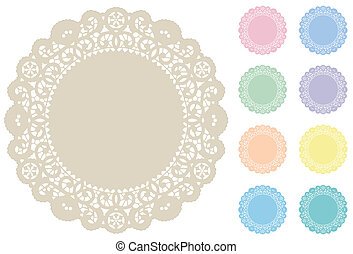 Lace Doily Place Mats in 9 pastel tints for holidays, scrapbooks, setting table and cake decorating. EPS8 compatible.