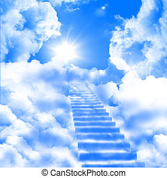 a ladder directed up to blue cloudy skies and sun