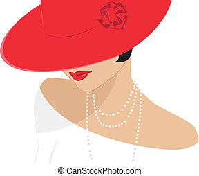 Vector illustration of a retro style lady in a red hat