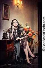 Lady in black, vintage scenery