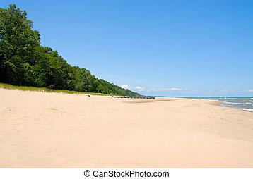 Lake Michigan Shoreline - The shoreline breakers of Lake Michigan at Warren Dunes State Park in Sawyer, Michigan, USA.