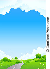 Landscape - green hill with tree road and cloudscape