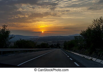 Landscape of interesting mountain road at sunset, Balkan mountain