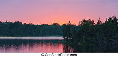 wood lake after sunset