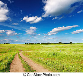 Rural landscape with country road and blue sky