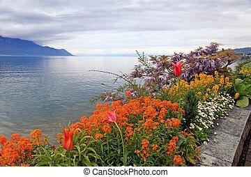 landscape with flowers and Lake Geneva, Montreux, Switzerland.