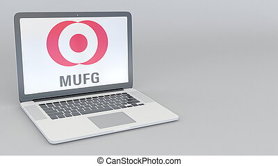 Laptop with MUFG logo. Computer technology conceptual editorial 3D rendering