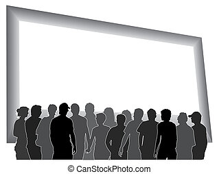 People are looking at a large blank billboard, vector illustration