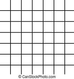black grid on white