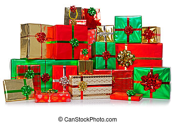 Large group of Christmas presents