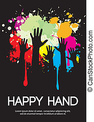 Large group of happy hands design with copy space.