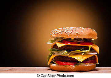 large hamburger with text copy space