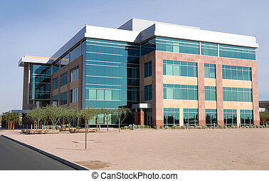 Modern large new unoccupied office building