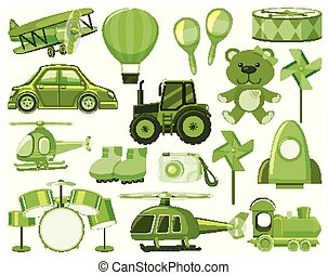 Large set of different objects in green