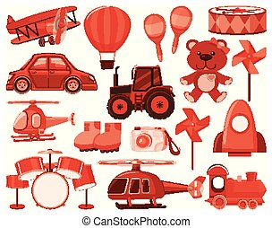 Large set of different objects in red