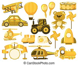 Large set of different objects in yellow