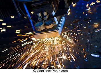 Laser cutting close up