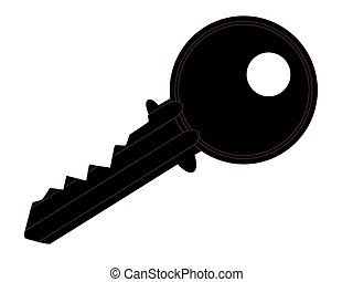 Silhouette of a latch key, details with dark brown edge, isolated over a white background.