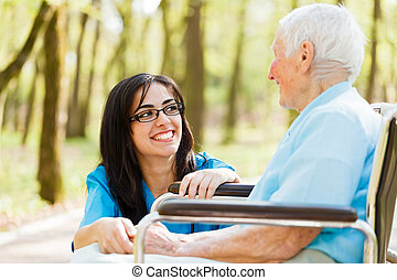 Laughing with Elderly Lady