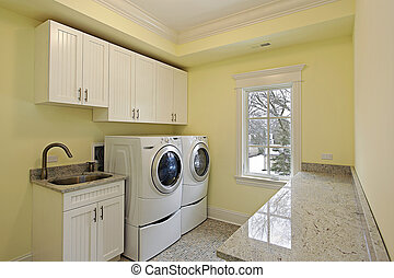 Laundry room in luxury home with large washer and dryer