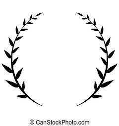 Laurel wreath black icon isolated on white background.