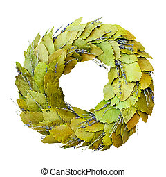 Green laurel wreath isolated included clipping path