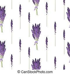 Lavender seamless pattern. Provence violet bouquet bush.