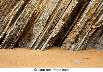 Multiple layers of eroded cliff in a beach