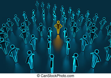 Leader in front of team of successful executives. A team of successful executives led by a great leader who stands in front of them. 3D rendering