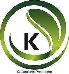 Leaf Initial K Logo Design Template Vector