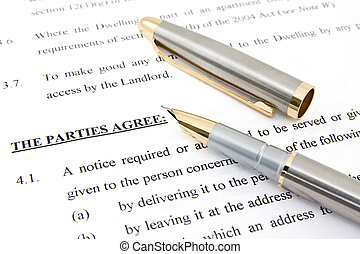 Lease agreement and pen showing real estate concept