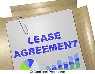 3D illustration of 'LEASE AGREEMENT' title on business document