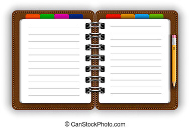 Realistic spiral leather notebook with bookmarks and detailed pencil vector