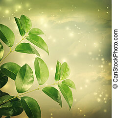 Leaves with green lights Background