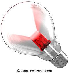 LED emitting a light beam inside a bulb