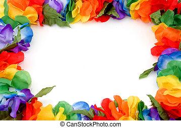 a colorful border made of a hawaiian lei